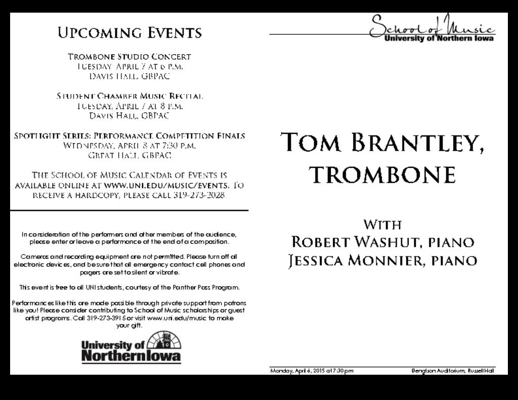 Tom Brantley, trombone - April 6, 2015