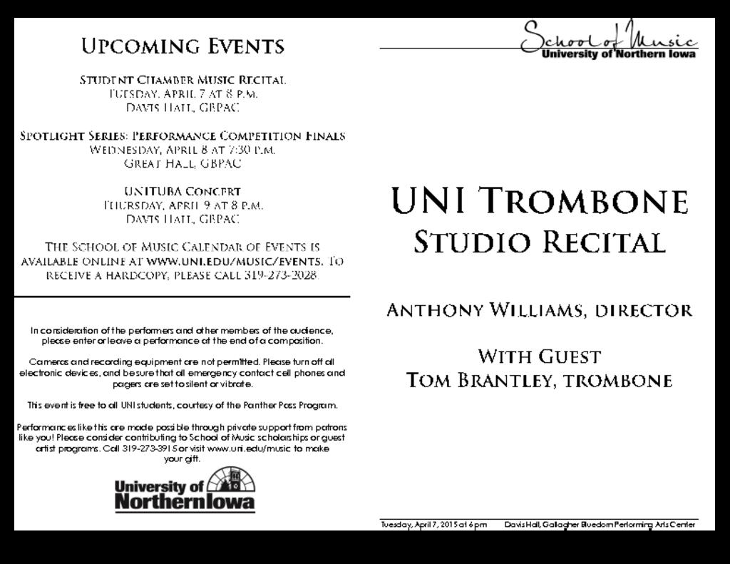 UNI Trombone Studio - April 7, 2015