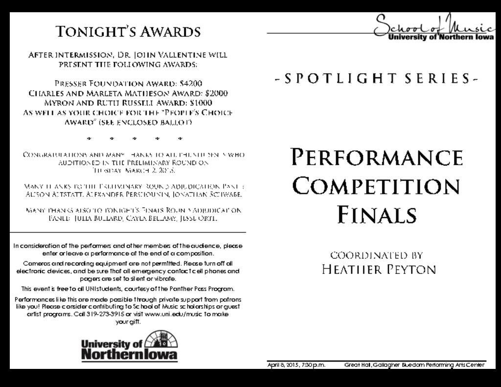 Performance Competition Finals - April 8, 2015
