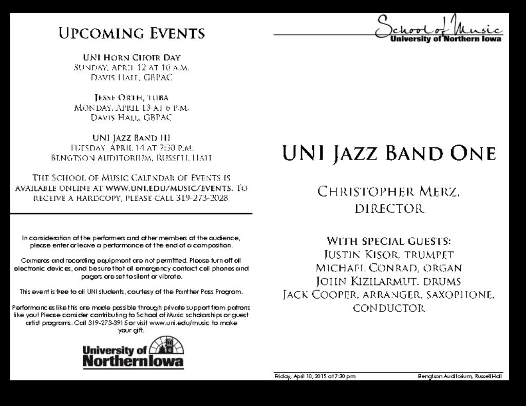 UNI Jazz Band One - April 10, 2015