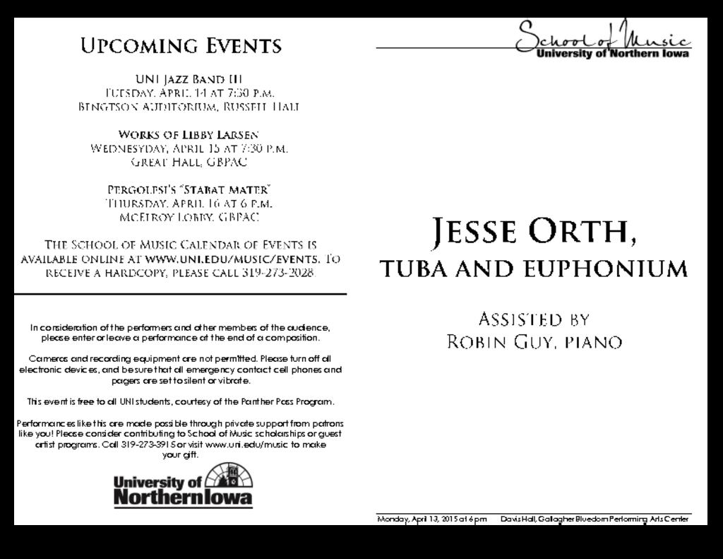 Jesse Orth, tuba and euphonium - April 13, 2015