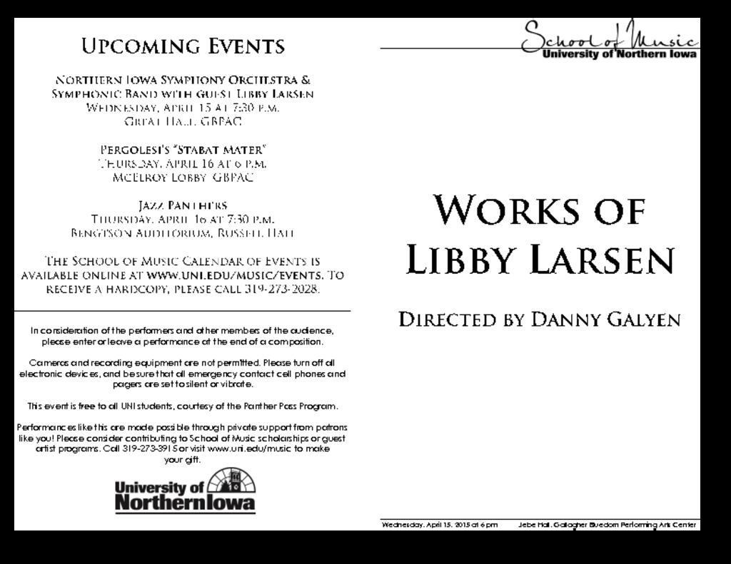 Works of Libby Larsen - April 15, 2015