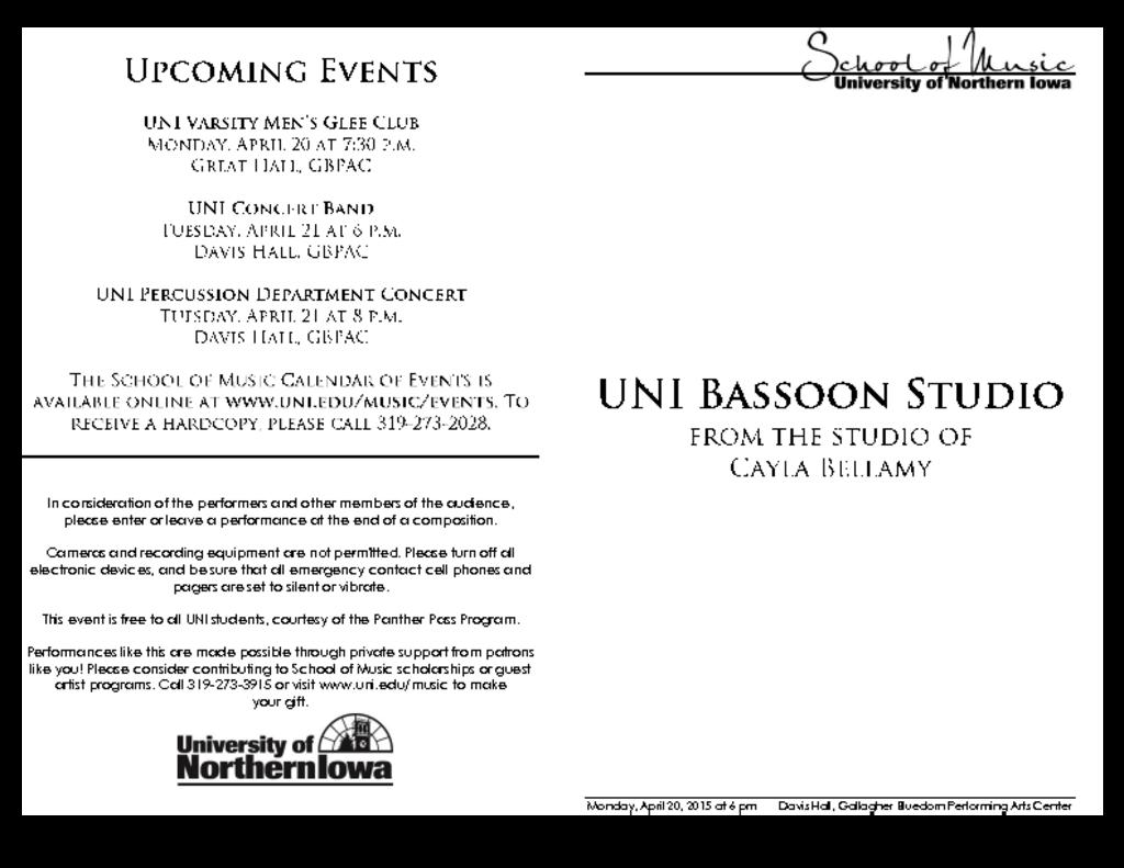 Bassoon Studio Recital - April 20, 2015