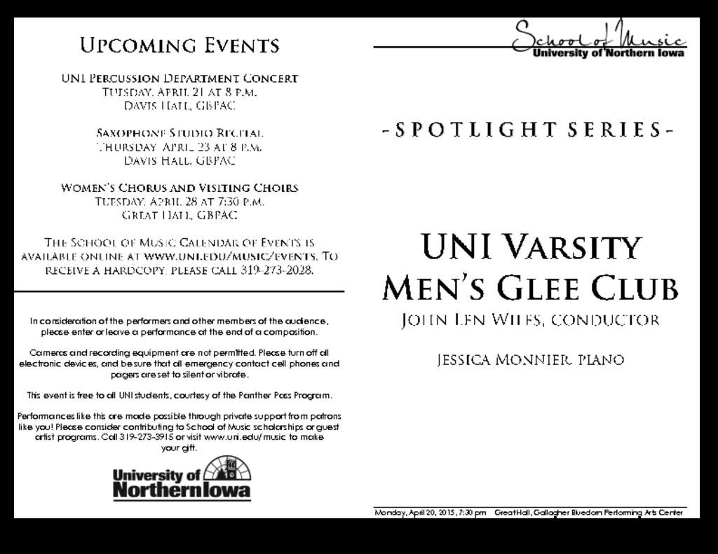 Varsity Men's Glee Club - April 20, 2015