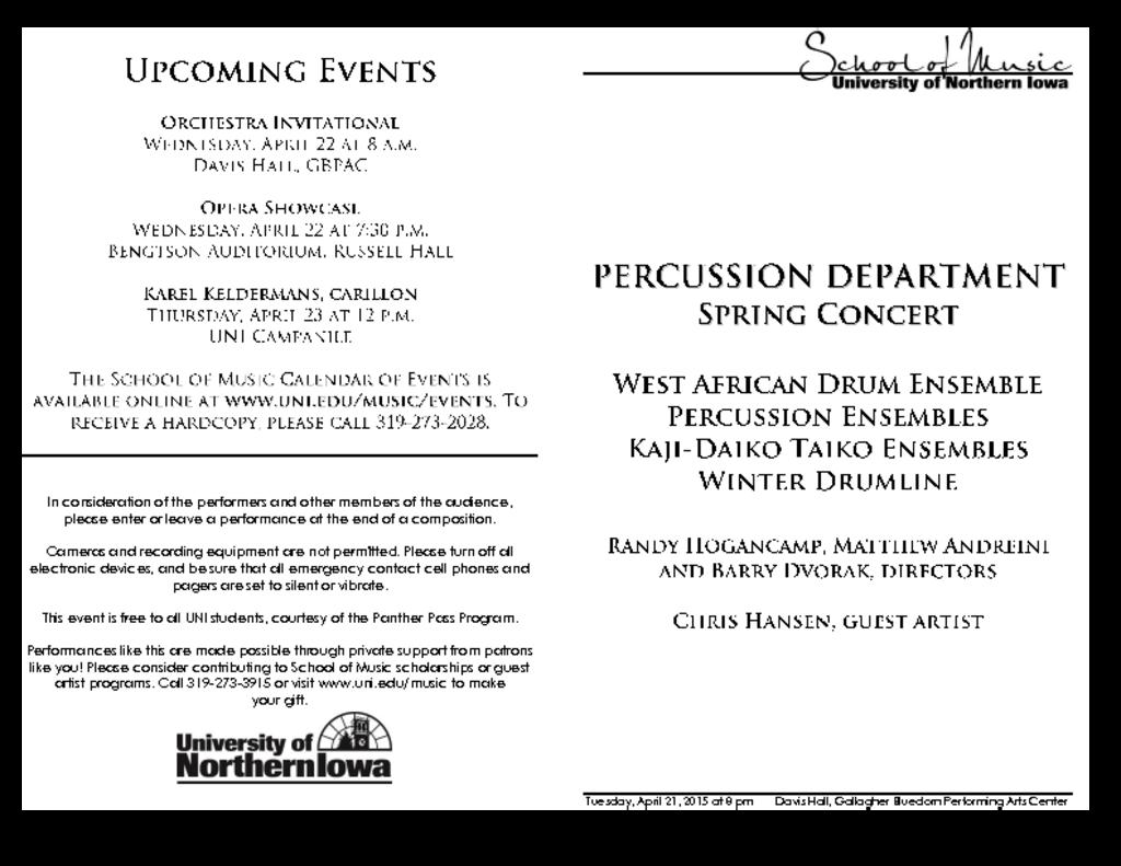 Percussion Department Concert - April 21, 2015