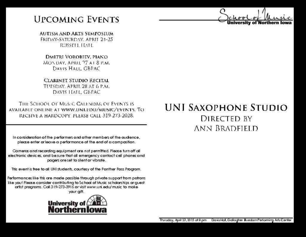 Saxophone Studio Recital - April 23, 2015