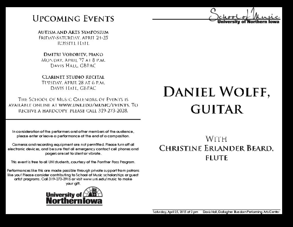 Daniel Wolff, guitar - April 25, 2015