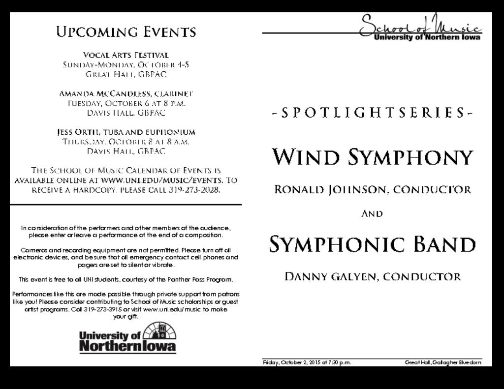 Wind Symphony & Symphonic Band - October 2, 2015