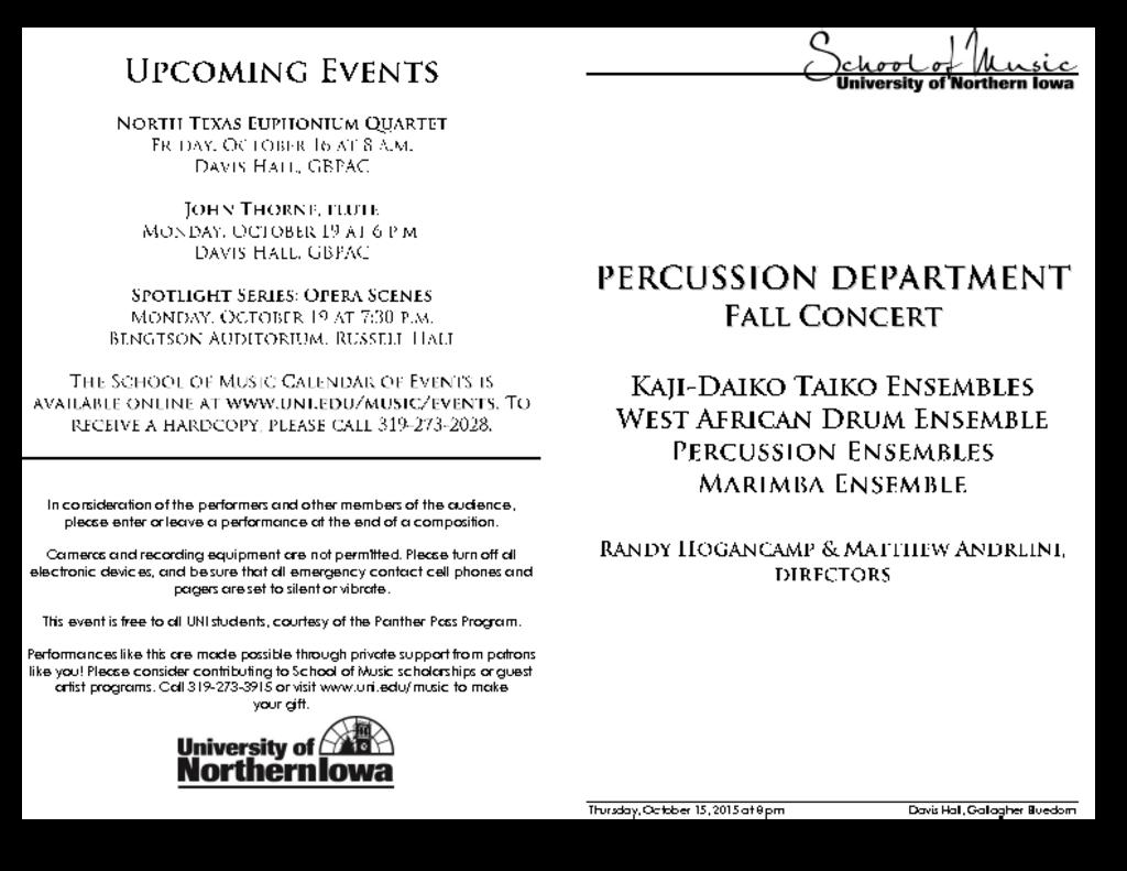 Percussion Dept Concert - October 15, 2015