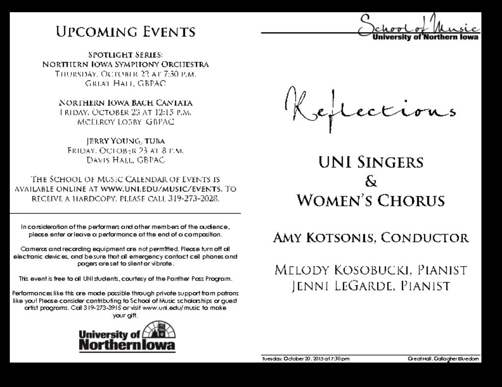 UNI Singers & Women's Chorus - October 20, 2015