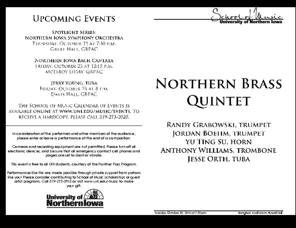 Northern Brass Quintet - October 20, 2015