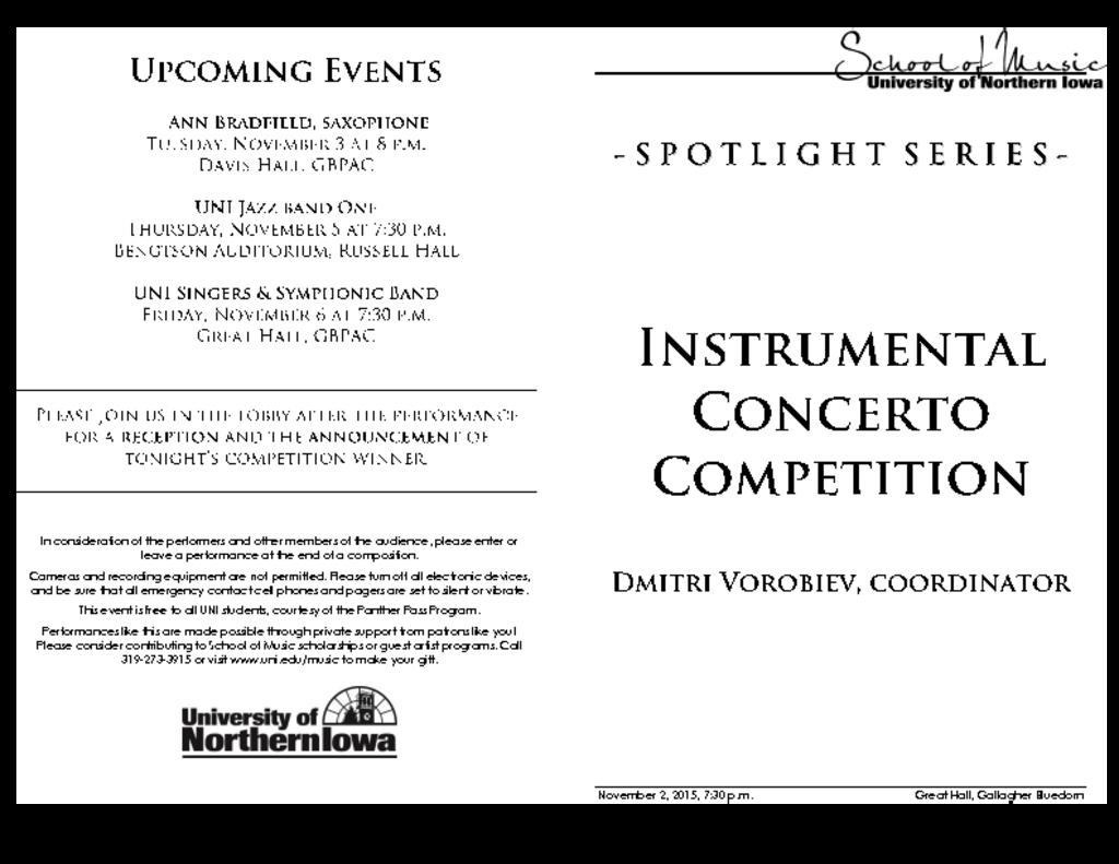 Instrumental Concerto Competition Finals - November 2, 2015
