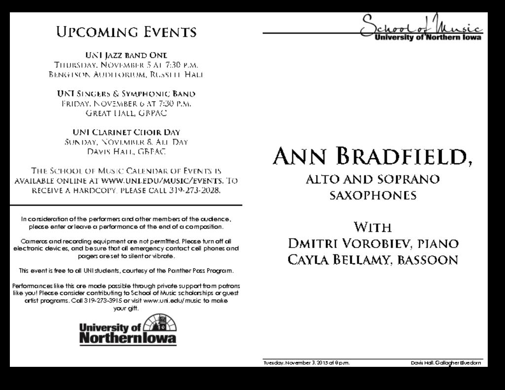 Ann Bradfield - November 3, 2015