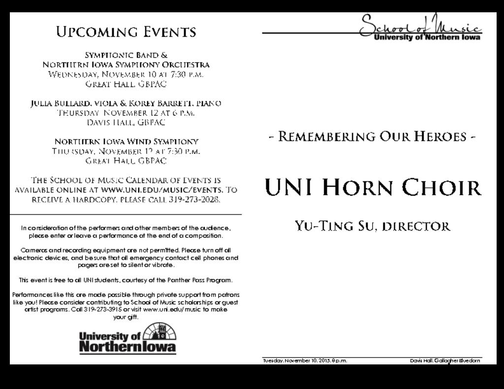 UNI Horn Choir - November 10, 2015
