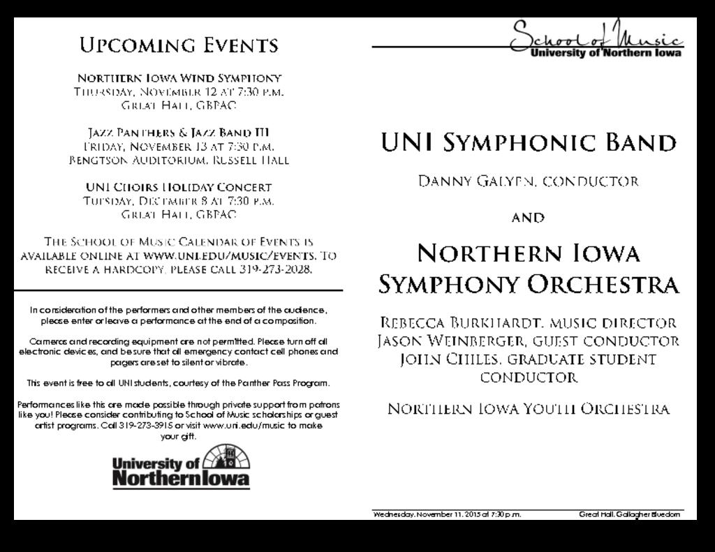 Symphonic Band & Northern Iowa Symphony Orchestra - November 11, 2015