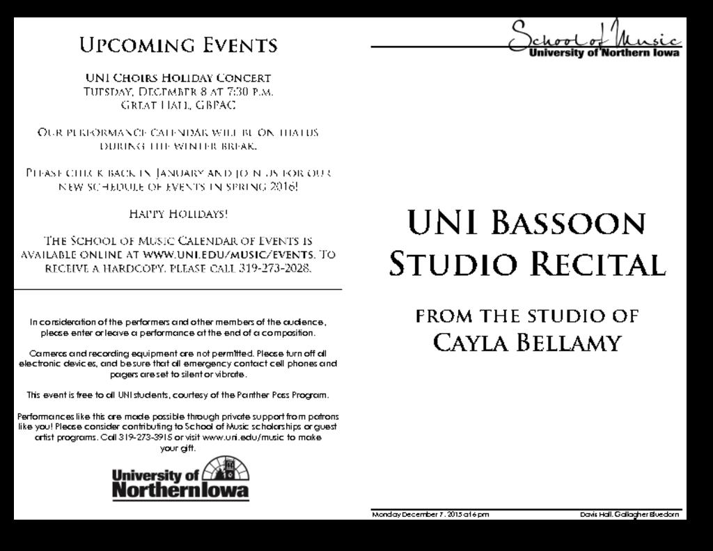 UNI Bassoon Studio Recital - December 7, 2015