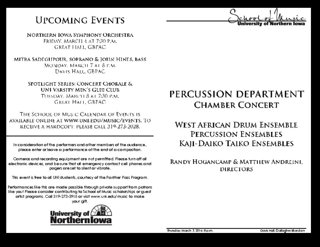Percussion Department Concert - March 3, 2016