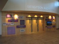 Bengtson Auditorium Entrance and Donor Wall, Russell Hall lobby